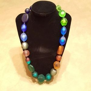 Necklace of frosted glass beads